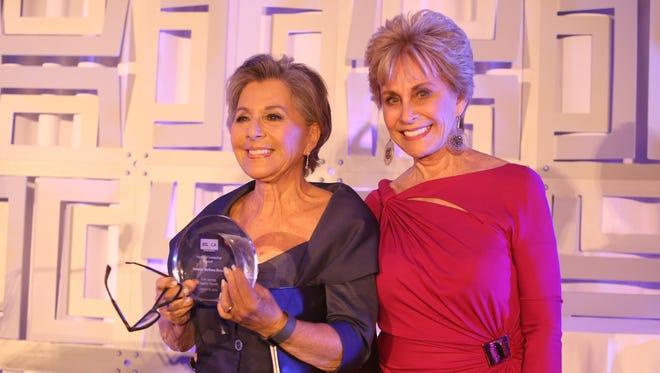 Senator Barbara Boxer received the Vanguard Leadership Award at the 2016 Palm Springs Equality Awards from community leader and philanthropist Barbara Keller.