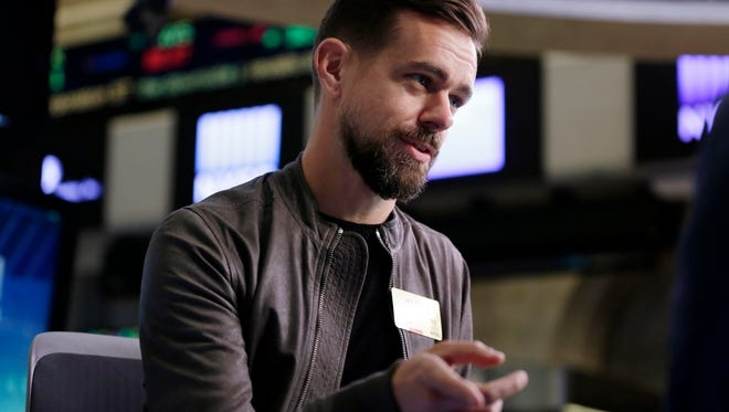 In this Thursday, Nov. 19, 2015, file photo, Twitter CEO Jack Dorsey is interviewed on the floor of the New York Stock Exchange. Dorsey said Nov. 22, 2016, that the social media platform accidentally suspended his own account.