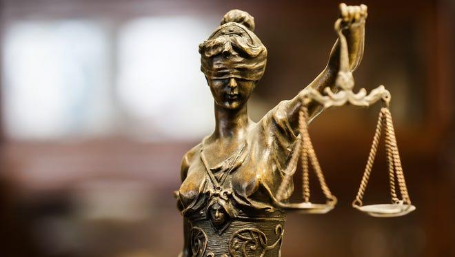 Bronze statuette of justice