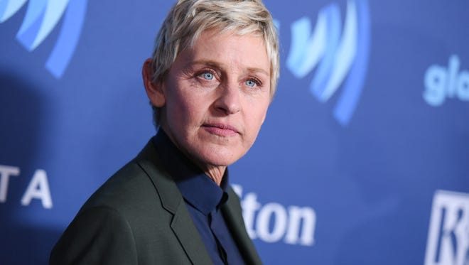 In this March 21, 2015, file photo, Ellen DeGeneres arrives at the 26th Annual GLAAD Media Awards held at the Beverly Hilton Hotel, in Beverly Hills, Calif.