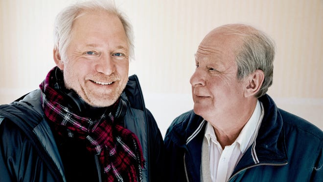 """Hannes Holm (left) directs Rolf Lassgard  in the Sweish Oscar submission, """"A Man Called Ove."""""""