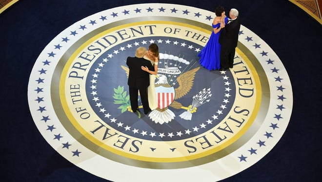 President Donald J. Trump and First Lady Melania Trump dance with Vice President Mike Pence and Karen Pence at the A Salute to Our Armed Services Ball  in Washington, DC, USA, 20 January 2017.