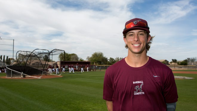 Hamilton High School first baseman Nick Brueser poses for a portrait in Chandler, Ariz. on Feb. 17, 2017. Brueser was named Arizona Player of the Year after his team won the state championships last year.