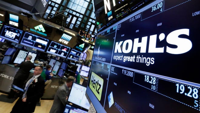 The Kohl's logo appears above its trading post on the floor of the New York Stock Exchange.