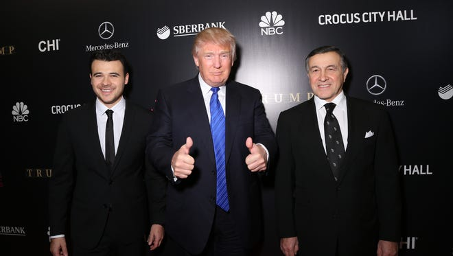 Emin Agalarov, Donald Trump and Aras Agalarov attend the red carpet at the Miss Universe Pageant in Moscow on Nov. 9, 2013 .