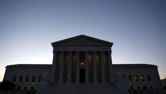 The Supreme Court is seen in the early hours of April 10, 2017 in Washington, DC.