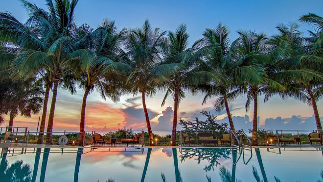 The Carillon Miami Wellness Resort is offering a deep discount for Cyber Monday. This is the sunrise pool on the property.