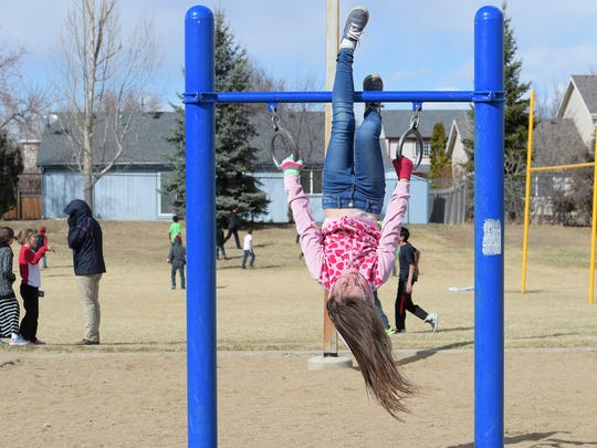 Audrianah Williams plays at recess at Stansberry Elementary in Loveland on Monday, March 6, 2017. Thompson School District's bond to build new schools wasn't approved in November. Now the district is considering closing two schools to cut costs.