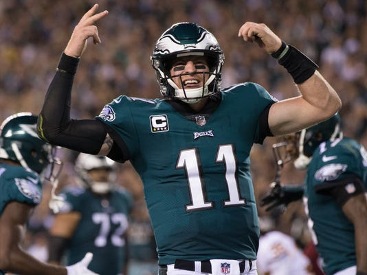 cb0336786 Quarterback Carson Wentz is being mentioned as an MVP candidate after  leading the Eagles to a 6-1 start. (Photo  Bill Streicher