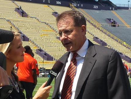 Auburn coach Gus Malzahn does pregame interview before Tigers play LSU.