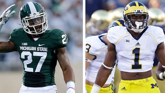 Michigan State safety Kurtis Drummond, left, and Michigan wide receiver Devin Funchess.