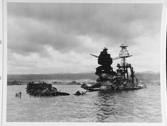 A view of the USS Arizona taken on Dec. 10 showing