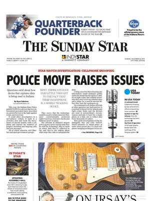 The front page of the Indianapolis Star featuring Gannett's cellphone spying investigation.