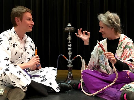 """Michael Jones and Elsie Ritchie rehearse a scene from """"Harold and Maude,"""" produced by Axiom Repertory Theatre in February 2018 at Old City Hall."""