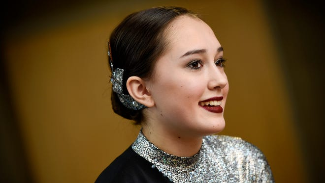 Emma Marx, a Technical High School freshman, talks about being a dancer during Super Bowl Live Saturday, Jan. 27, while competing in a dance show in Sauk Rapids.