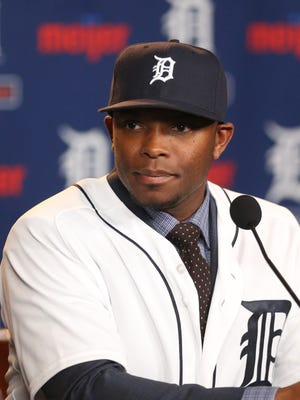 Detroit Tigers outfielder Justin Upton speaks to the media Jan. 20, 2016, at Comerica Park in Detroit.