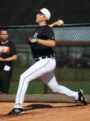 Tigers pitcher Alex Faedo throws in the bullpen during