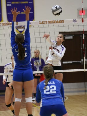Unioto's Abbey Winegardner registers a kill against Washington Court House on Saturday morning at Unioto High School. The Shermans won their fourth straight hosted invitational.