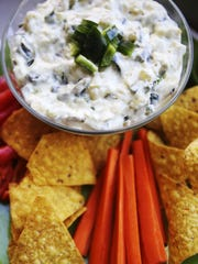 Carmelized onion and poblano dip with chips and veggies