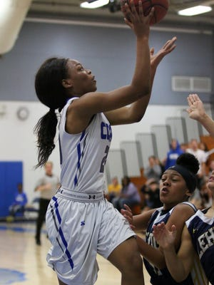 Barron Collier freshman Jada McCray goes for the jumper during the 7A regional quarterfinal game against Lehigh on Thursday, Feb. 9, 2017.