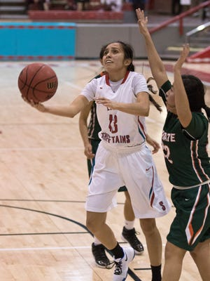 Shiprock's Paige Dale drives past Wingate's Brittney Payton  for a layup in third quarter Tuesday at the Chieftain Pit in Shiprock.