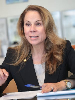 Riverside County Supervisor candidate Jan Harnik speaks to The Desert Sun Editorial Board on Wednesday, April 25, 2018, in Palm Springs.