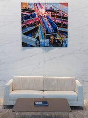 This woven artwork by Sheila Held is part of the collection at Northwestern Mutual in downtown Milwaukee.