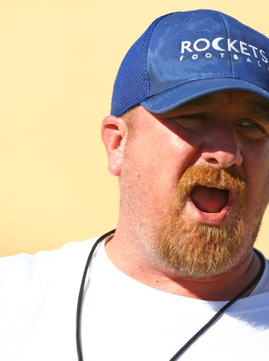 Moon Valley High School football coach Seth Millican during practice at on May 7, 2018 in Phoenix, Ariz.