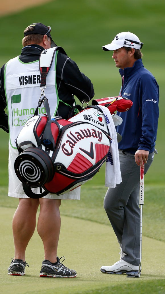 The PGA Championship leader's caddie has ridiculously ripped calves