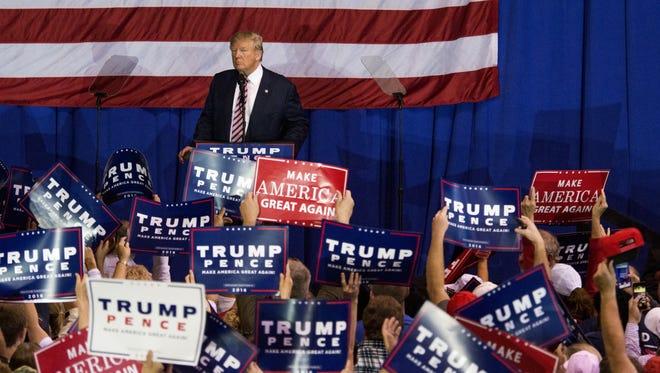 Donald Trump campaigns in Delaware, Ohio, on Oct. 20, 2016.