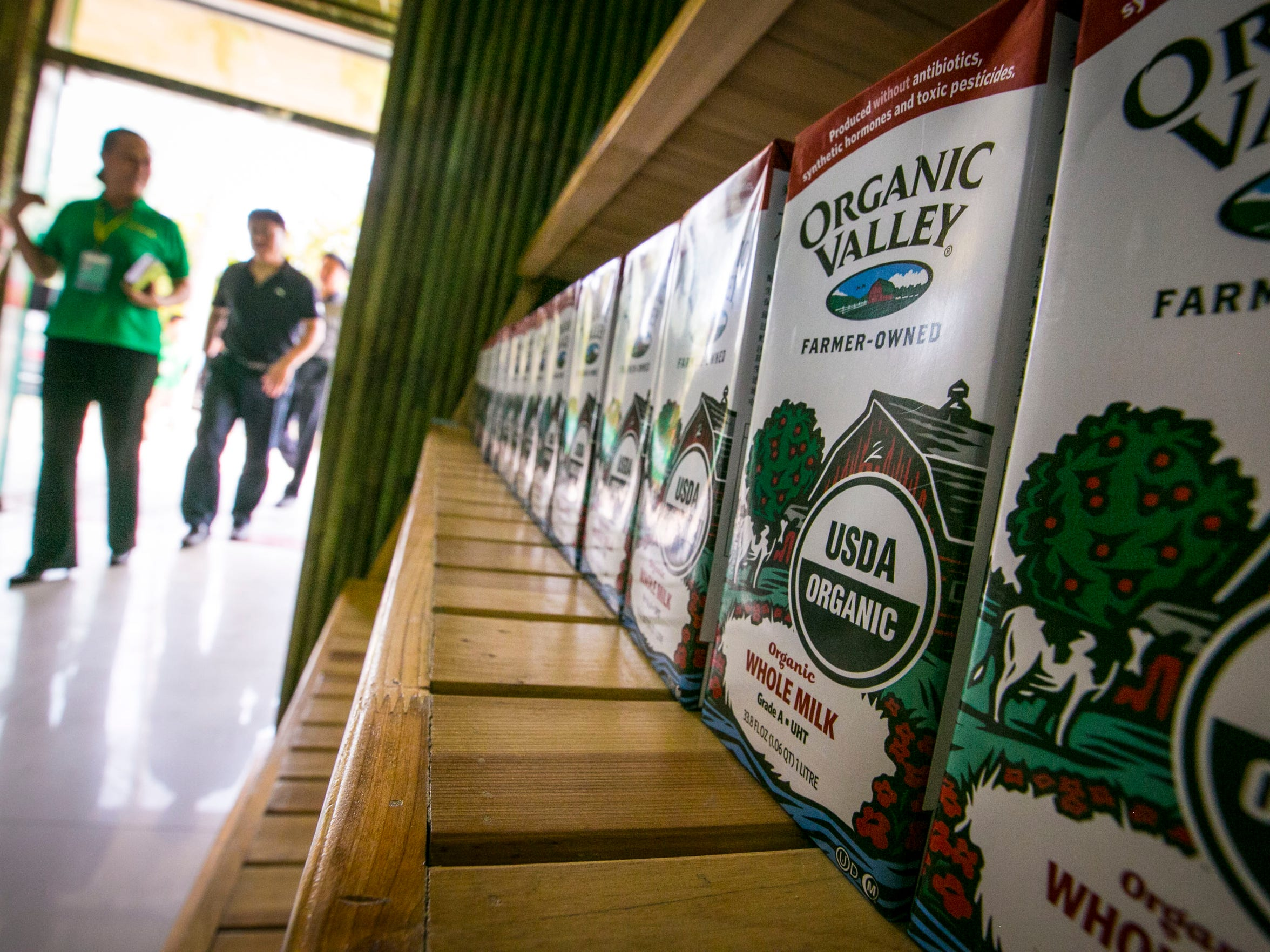 Organic Valley milk from the U.S. is on display during