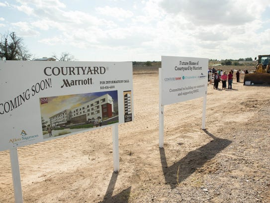 The ground breaking of a new campus hotel, a Courtyard