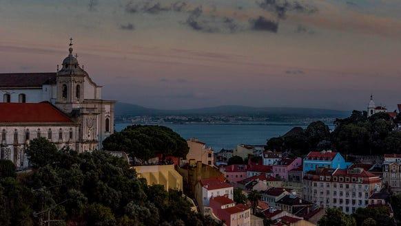 Evening view of Lisbon.