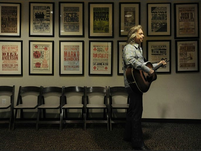 Jim Lauderdale waits backstage at the Country Music Hall of Fame Ford Theater to perform on Saturday July 12, 2014, in Nashville.