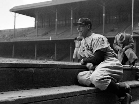 Lou Gehrig, New York Yankees first baseman who had played in 2,130 consecutive games, took to the bench May 2, 1939, at his own request as his  teammates warmed up for their game with the Tigers in Detroit.