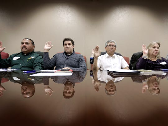 Rick Quezada, left, Sean Carranco, Al Borrego and Janine Young were among the new members of the El Paso County Historical Commission who were sworn in Monday morning at the group's first meeting. Joseph Nebhan was named the commission's new chairman and Ron Leiman the vice chairman. Former Chairman Bernie Sargent and Vice Chairman Max Grossman, among others, were not reappointed at last week's county commissioners' meeting.