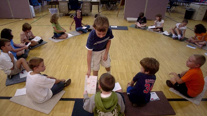 Second-graders during the first day at Milton Elementary School are seen in this file photo.
