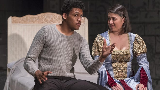 """Samuel Walls, left, and Victoria Loeffler rehearse for Encore Theatre's production of """"Pippin"""" on Tuesday, May 2, 2017. Performances begin Friday and run through May 20."""