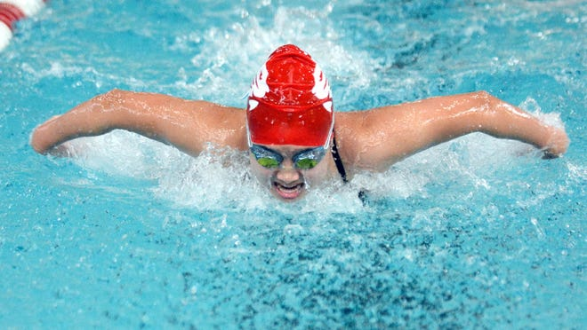 NFA's Gloria Ng competes in the butterfly event during a meet at UConn-Avery Point last season in Groton. [John Shishimanian/ NorwichBulletin.com