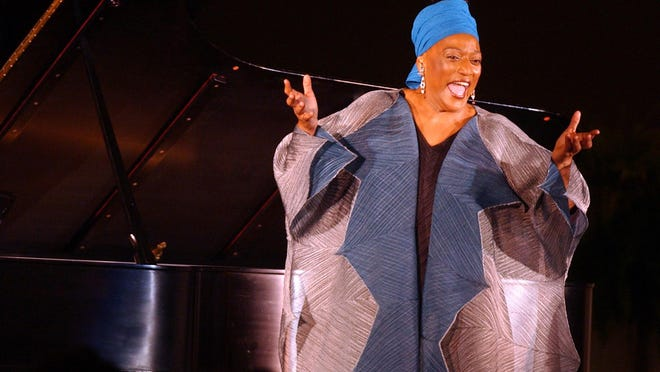 """Accompanied by Mark Markham on piano, vocal legend Jessye Norman sings at Paine College's Gilbert-Lambuth Memorial Chapel in Augusta in 2002. An online event, """"Jessye Norman at 75: A Celebration,"""" is planned for Sept. 15."""