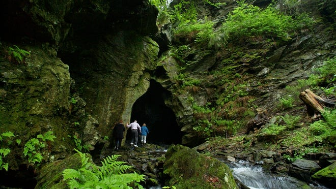This cave is the centerpiece of the Dover Stone Church Preserve.