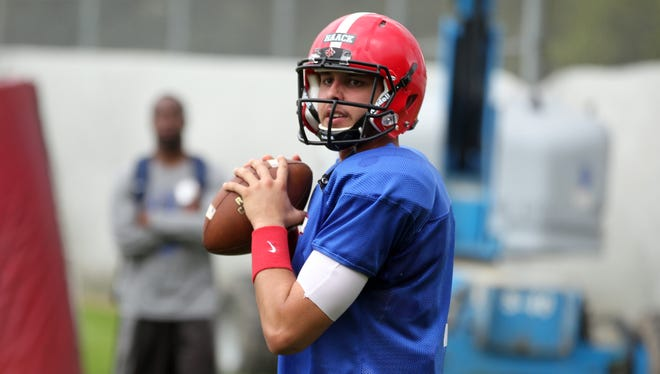 UL quarterback Brooks Haack practices Thursday, March 19, 2015, at the UL football practice facility in Lafayette, La.