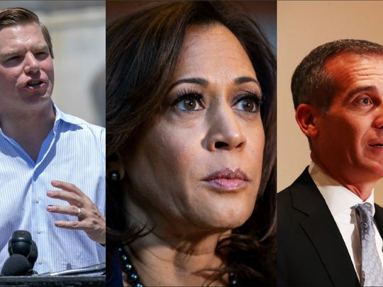 Rep. Eric Swalwell, D-Dublin, U.S. Sen. Kamala Harris and Los Angeles Mayor Eric Garcetti are three politicians who have either declared their intention to seek the Democratic Party's nomination to run for president against Donald Trump, or are widely expected to announce in the coming weeks.