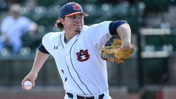 Keegan Thompson took his first loss on Friday night this season as Auburn lost 5-2 at Mississippi State on April 28, 2017.