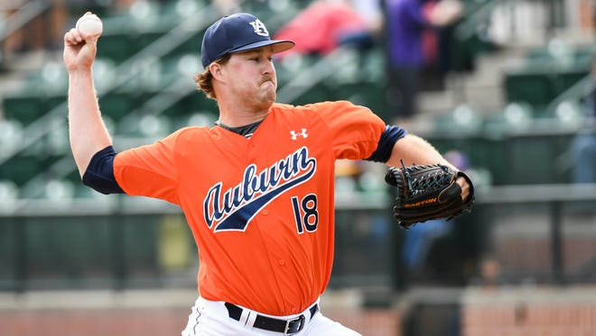 Auburn reliever Corey Herndon allowed just one earned run over 3 2/3 innings Sunday in a 8-7 loss on March 5, 2017 in Auburn, Ala.