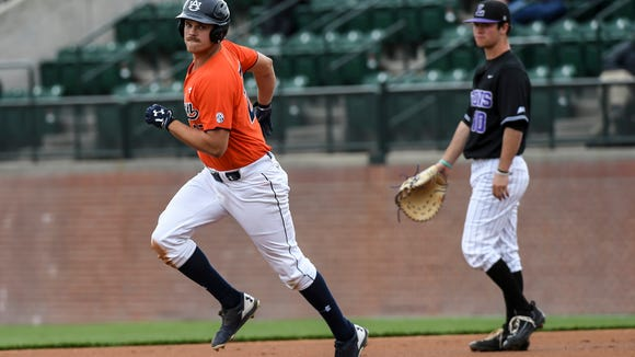 Auburn designated hitter Dylan Ingram hit a 3-run home run in the fourth inning in a 8-7 loss to Lipscomb on Sunday March 5, 2017 in Auburn, Ala.