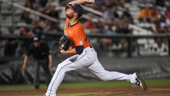 Cole Lipscomb  had 10 strikeouts in relief of Auburn's 8-7 loss to Florida State in 10 innings during the NCAA Baseball Regional on Sunday, June 4, 2017, in Tallahassee, Fla.