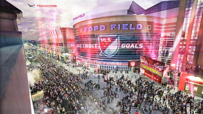 Rendering of Ford Field if it were in use for Major League Soccer.