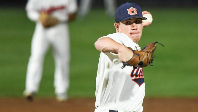 Auburn left-handed pitcher Ellior Anderson strikes out a career-high seven batters in a 12-2 win over UAB on April 17, 2018.