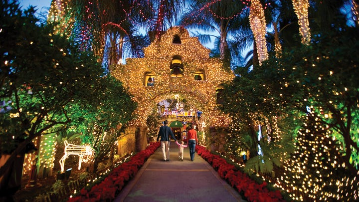 This year's installment of the Festival of Lights in Downtown Riverside, Calif.  takes place between Nov. 28 and Jan. 6 and will feature more than 3.5 million lights adorning the Mission Inn Hotel & Spa, Mission Inn Avenue and several municipal buildings.
